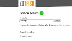 A screenshot of the page that used to be home to Criss Angel on Zotfish, which is no longer available.