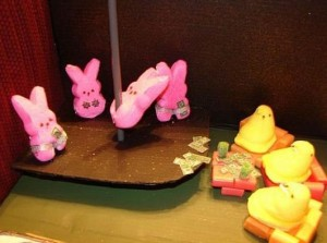 Pink bunny Peeps pole dance for yellow chick Peeps
