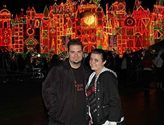 Mike Wilton & Audrey Seiberling in front of it's a small world at Disneyland
