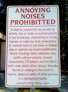 Annoying Noises Prohibited