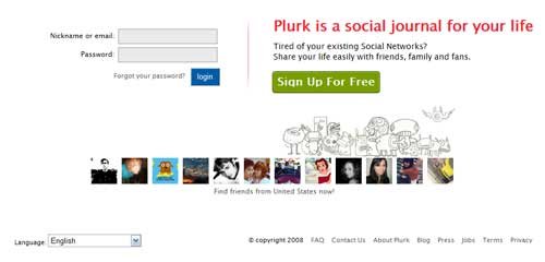 New Plurk Home Page