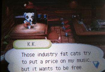 Musical dog in Animal Crossing wants his music to be free.