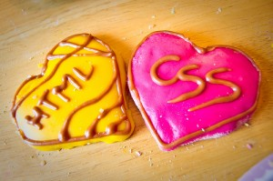 HTML and CSS heart cookies.