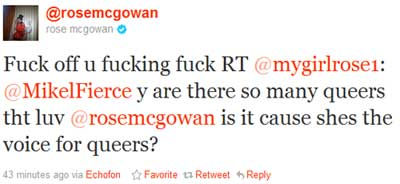 Tweet from Rose McGowan to mygirlrose1