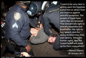 Viral image of Occupy protester being detained by police