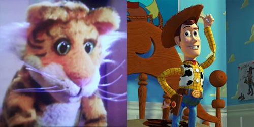 Rugby from The Christmas Toy and Woody from Toy Story