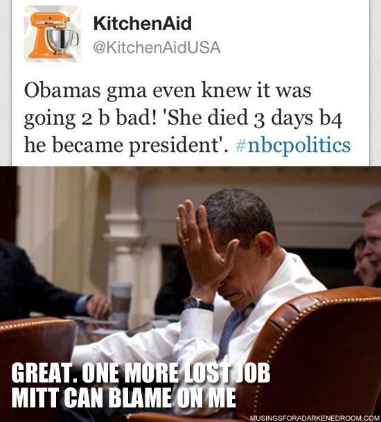 Kitchen Aid Tweet and Obama Facepalm